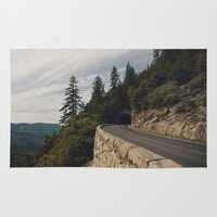 yosemite Area & Throw Rugs featuring Yosemite Tunnel  by Laura Ruth