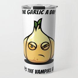 One Garlic a day Sweets Dracula Creepy Travel Mug