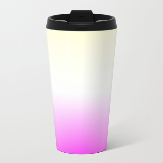 Pink White Yellow Gradient Metal Travel Mug