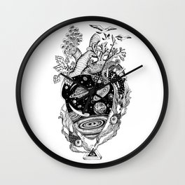 Cosmos Space Heart Wall Clock