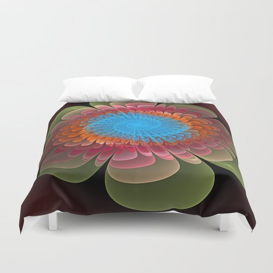 Colourful fantasy flower with a spiral heart Duvet Cover