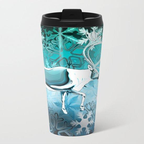 Blue Reindeer Metal Travel Mug
