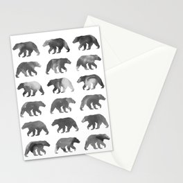 Watercolor Bear - Black & White Stationery Cards