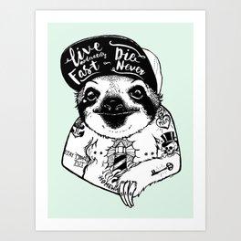 Sloth Tattooed Art Print