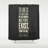 oscar wilde Shower Curtains featuring Lab No. 4 - Oscar Wilde Motivational inspirational typography print Poster by Lab No. 4