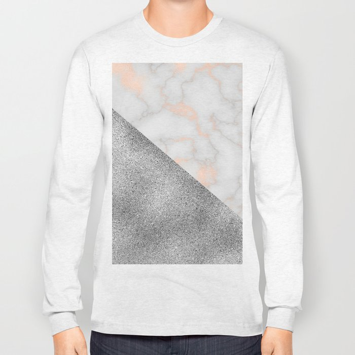 Rose gold marble and silver glitter Long Sleeve T-shirt
