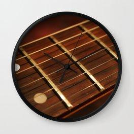 Close Up Of Guitar Neck Wall Clock