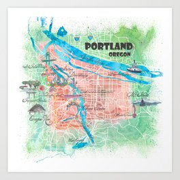 Portland Oregon Illustrated Map with Main Roads Landmarks and Highlights Art Print