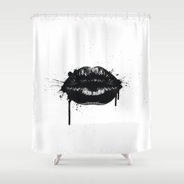 Black lips Shower Curtain