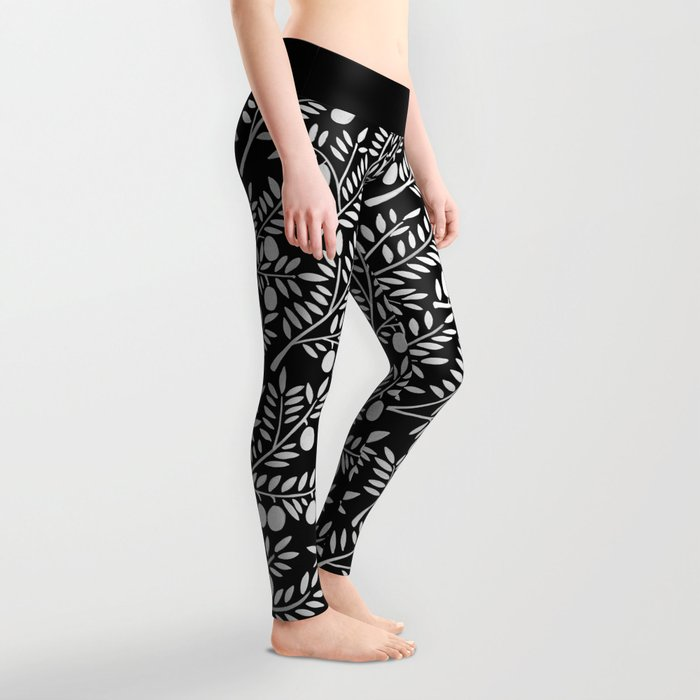 White Olive Branches Leggings