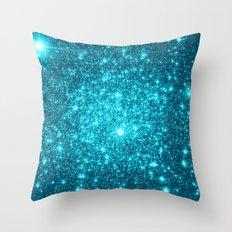 Turquoise Teal Sparkle Stars Throw Pillow