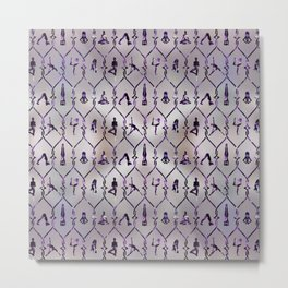 Amethyst Yoga Asanas pattern on mother of pearl Metal Print