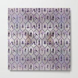 Amethyst Yoga Asanas pattern on mother of pearl Metal Print