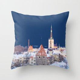 Winter City Evening Throw Pillow
