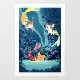 Cat fishes Art Print