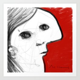 REVERIE : 002 ~ iPad Sketchbook Drawing, Abstract Face Art Print