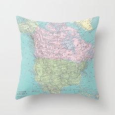 Vintage North America Map Throw Pillow