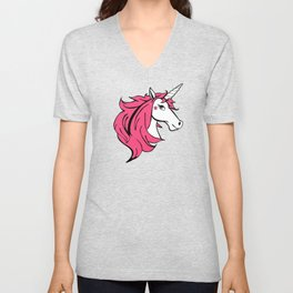 Colorful Cartoon Unicorn - Pink Unisex V-Neck