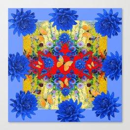 VERY BLUE  FLOWERS YELLOW BUTTERFLIES PATTERN ART Canvas Print