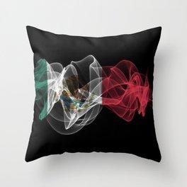 Mexico Smoke Flag on Black Background, Mexico flag Throw Pillow