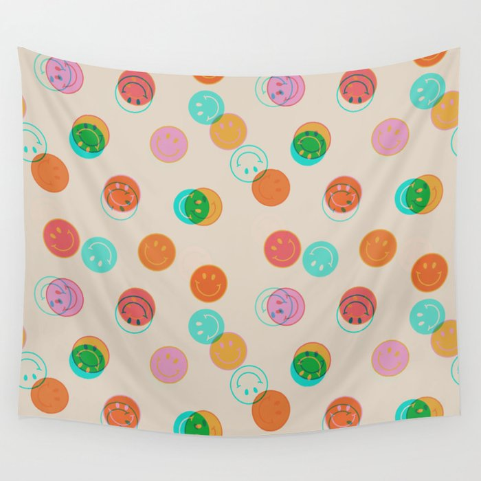 Smiley Face Stamp Print Wall Tapestry