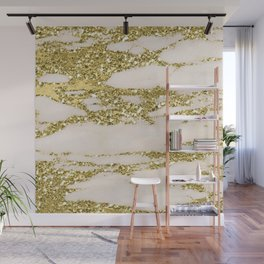 Marble - Gold Marble Glittery Light Pink and Yellow Gold Wall Mural