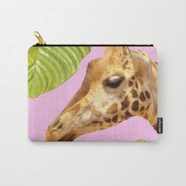 Giraffe with green leaves on a pink background Carry-All Pouch