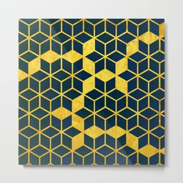Dark Blue and Gold Cubes Metal Print