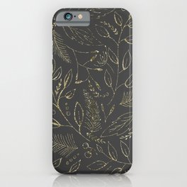 Holiday grey and gold iPhone Case