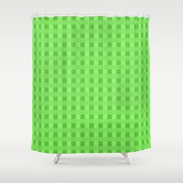 Lime Green Retro Squares Shower Curtain