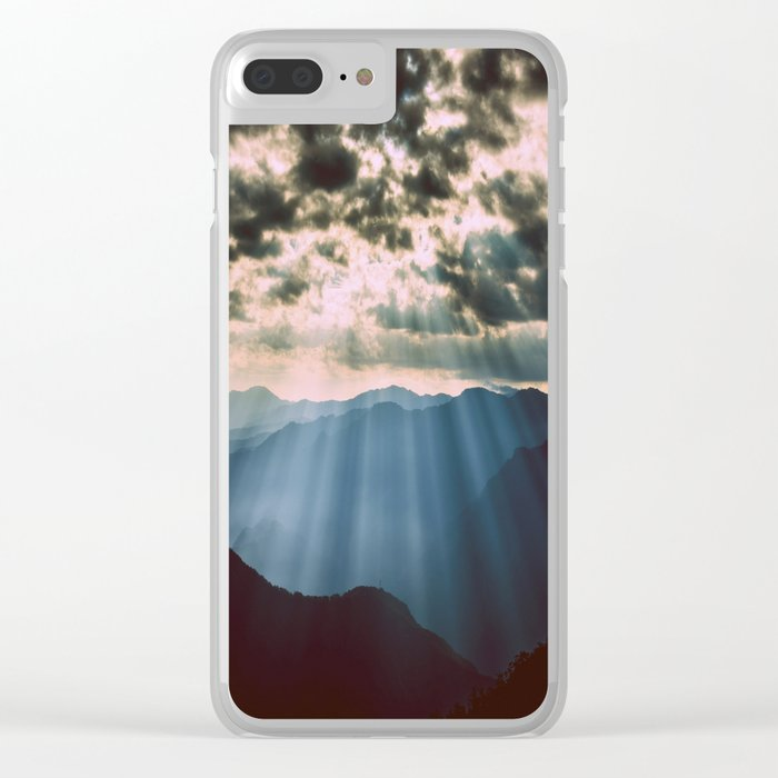 mountainS Dark Sunset Clear iPhone Case