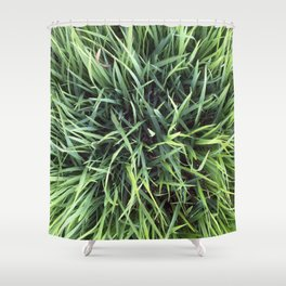 Trendy Grass Pattern  in Vivid Shades of Green Shower Curtain