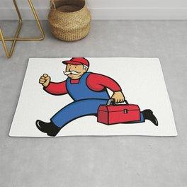 Aircon Technician Running Cartoon Rug