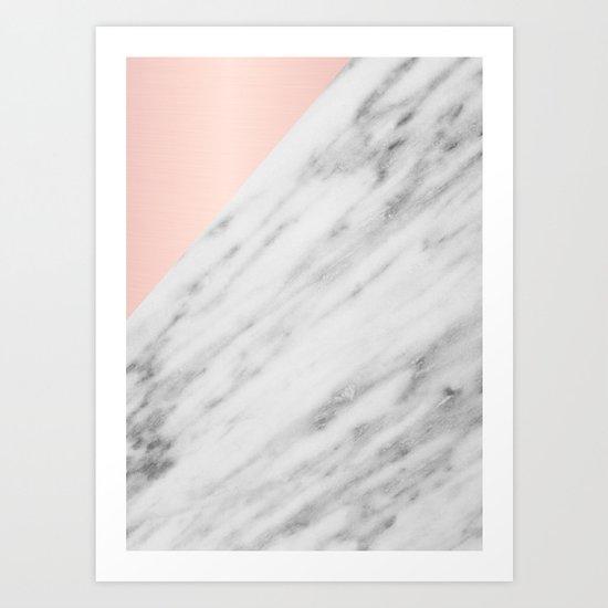 Real Carrara Italian Marble and Pink Art Print