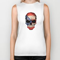 puerto rico Biker Tanks featuring Dark Skull with Flag of Puerto Rico by Jeff Bartels