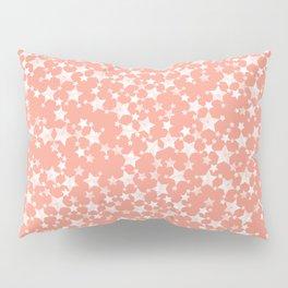Coral and White Lino Print Stars Pattern Pillow Sham