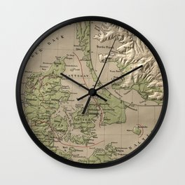 Vintage Iceland and Denmark Physical Map (1880) Wall Clock