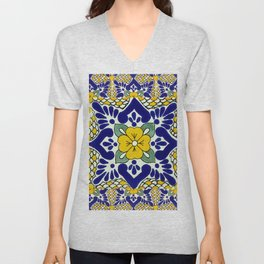 talavera mexican tile in yellow and blu Unisex V-Neck