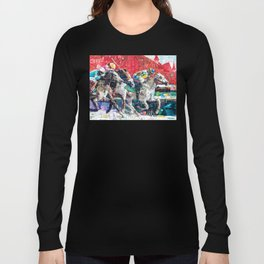 Abstract Race Horses Collage                                         Long Sleeve T-shirt
