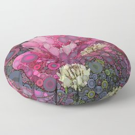 Pink Flowers at Twilight Abstract Floor Pillow