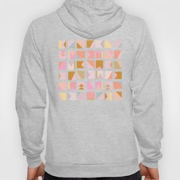 Modern Graphic Shapes in Pink and Gold Hoody