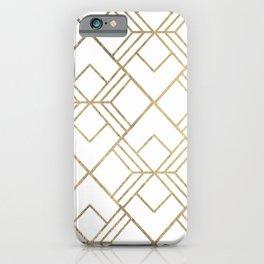 Geometrical white faux gold elegant stylish diamonds iPhone Case