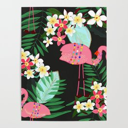 Tropical Pattern With Frangipani and Flamingo Poster