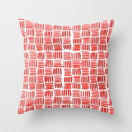 Red Parquet Throw Pillow