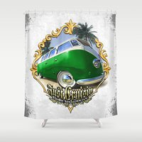 vw bus Shower Curtains featuring VW T1 Bus - Just cruisin' by GET-THE-CAR