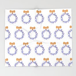 Gold and blue Christmas wreath Throw Blanket