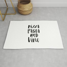 Pizza Pasta and Vino black and white typography poster black-white design home decor kitchen wall Rug