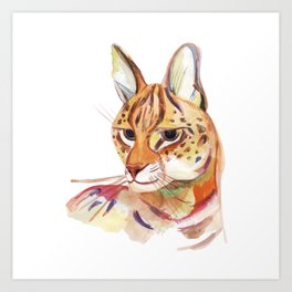 Serval wild cat watercolor Art Print