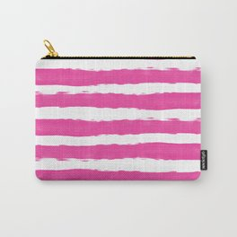 Simple pink and white hand drawn stripes - horizontal - for your summer on #Society6 Carry-All Pouch