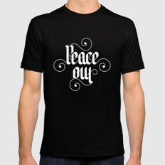 peace out Black Mens Fitted Tee MEDIUM